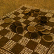 Playing Checkers On A Rug Poster