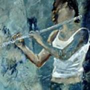 Playing The Flute Poster