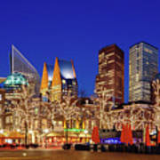 Plein At Blue Hour - The Hague Poster