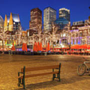 Plein Square At Night - The Hague Poster