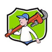 Plumber Holding Monkey Wrench Crest Cartoon Poster