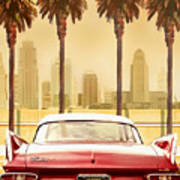 Plymouth Savoy With Palm Trees Poster