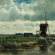 Polder Landscape With Windmill Near Aboude Poster