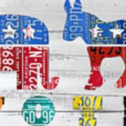 Political Party Election Vote Republican Vs Democrat Recycled Vintage Patriotic License Plate Art Poster