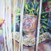 Polynesian Maori Warrior With Spears Poster