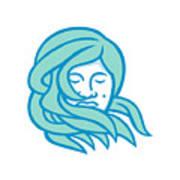 Polynesian Woman Flowing Hair Mascot Poster