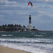 Pompano Beach Kiteboarder Hillsboro Lighthouse Catching Major Air Poster