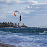 Pompano Beach Kiteboarder Hillsboro Lighthouse Poster