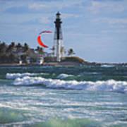 Pompano Beach Kiteboarder Hillsboro Lighthouse Waves Poster