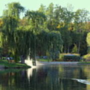 Pond At Mae Stecker Park In Shelby Township Mi  Poster