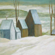 Pond Farm In Winter Poster