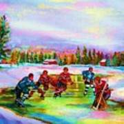 Pond Hockey Blue Skies Poster