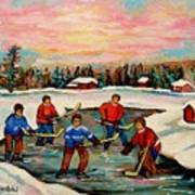 Pond Hockey Countryscene Poster