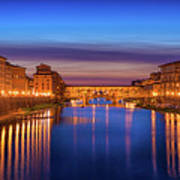 Ponte Vecchio Nigth Panorama Poster