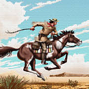 Pony Express Rider Historical Americana Painting Desert Scene Poster