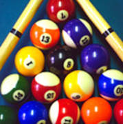 Pool Balls And Cue Sticks Poster