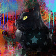 Pop Art Black Cat Painting Print Poster by Svetlana Novikova
