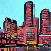 Pop Art Boston Skyline Poster