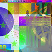 Pop-art Colorized One Hundred Euro Bill Poster
