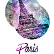 Pop Art Eiffel Tower Graphic Style Poster