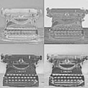 Pop Art Typewriter Collage Black And White Poster