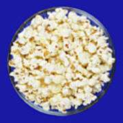 Popcorn In Glass Bowl On Blue Background Poster