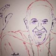 Pope Francis Waves Poster