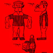 Popeye Doll Patent 1932 In Red Poster