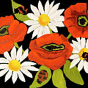 Poppies And Camomiles, Oil Painting Poster