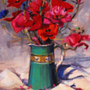 Poppies And Cornflowers In Green Jug Poster