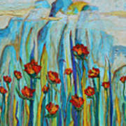 Poppies And Mountains Poster