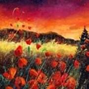 Poppies At Sunset 67 Poster