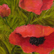 Poppies Diptych B Poster by Rita Bentley