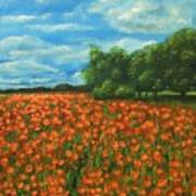 Poppies Field Original Painting Poster
