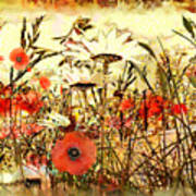 Poppies In Waving Corn Poster