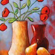 Poppies N Pears Poster