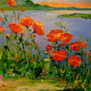 Poppies Near The River Poster