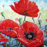 Poppy Love Floral Scene Poster