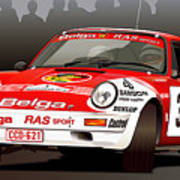 Porsche 911 Rally Illustration Poster