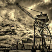 Port Crane At Sunset Poster