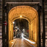 Port Dinan Archway At Night Poster