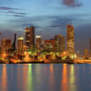 Port Of Singapore With City Skyline Poster