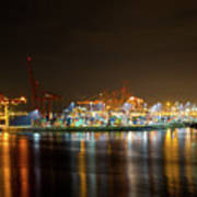 Port Of Vancouver Bc At Night Poster