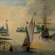Port Scene With Sailing Ships Poster