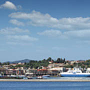 port with ferry boats Corfu Greece Poster