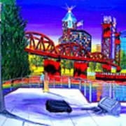 Portland City Lights 62 Over Fire Station #21 Poster