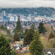 Portland City Skyline From Mount Tabor Poster