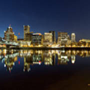 Portland City Skyline Reflection On Willamette River Poster