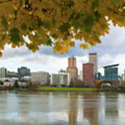 Portland City Skyline Under Fall Foliage Poster