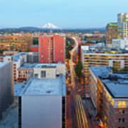 Portland Cityscape Along Morrison Bridge Poster